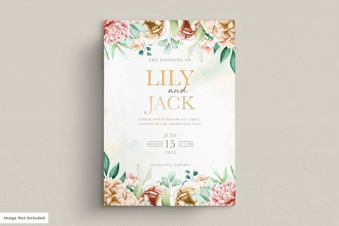 elegante aquarel pioenrozen bruiloft uitnodiging kaartenset