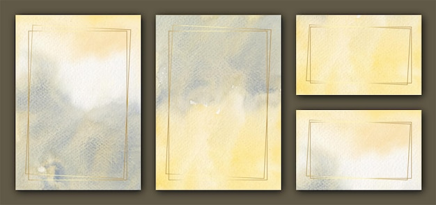 Elegante aquarel uitnodiging kaartsjabloon met frame