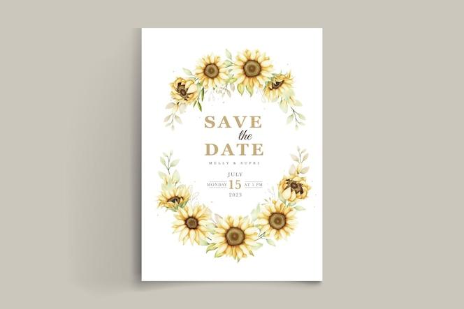 Elegante aquarel zonnebloem uitnodigingskaart
