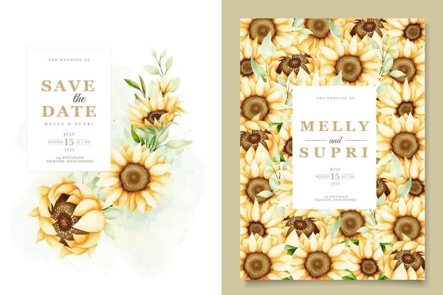 Elegante aquarel zonnebloem uitnodigingskaarten set