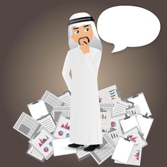 Elegante, arabische zakenmensen verdrinken in documenten