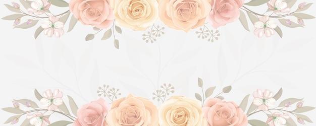 Elegante banner met kleurrijk bloeiend roze bloemornament