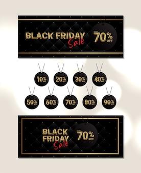 Elegante banner zwarte vrijdag verkoop met prijskaartje