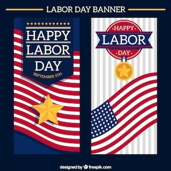 Elegante banners amerikaanse dag van de arbeid