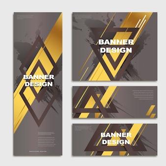 Elegante bannersjabloonontwerpset met driehoeken en gouden elementen