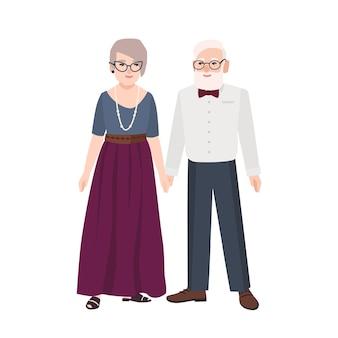 Elegante bejaarde echtpaar. paar oude man en vrouw gekleed in formele kleding bij elkaar staan. grootvader en grootmoeder. platte mannelijke en vrouwelijke stripfiguren. kleurrijke vectorillustratie