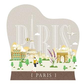 Elegante besneeuwde reisindrukposter van frankrijk met modieuze vrouw