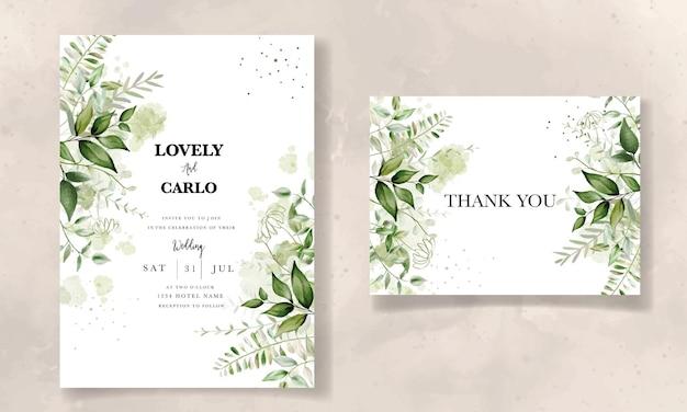 Elegante bladeren aquarel huwelijksuitnodiging met splash aquarel achtergrond