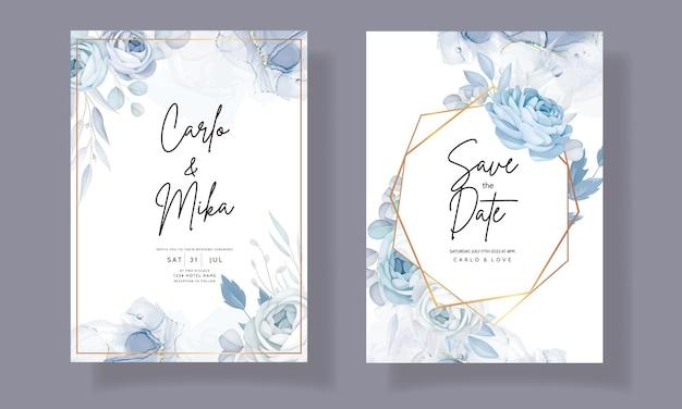 Elegante blauwe bloemen bruiloft uitnodiging sjabloon
