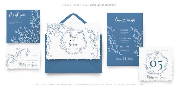 Elegante blauwe bloemenhuwelijkkantoorbehoeften