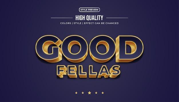 Elegante blauwe en gouden tekststijl met 3d-effect