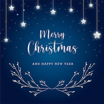 Elegante blauwe en zilveren kerstcadeaukaart