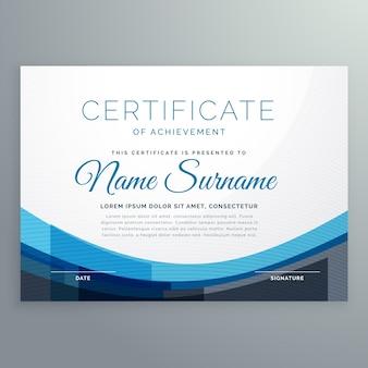 Elegante blauwe golvende certificaat van prestatie vector ontwerp