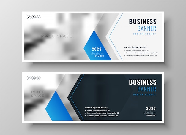 Elegante blauwe moderne bedrijfsbanner ontwerpsjabloon