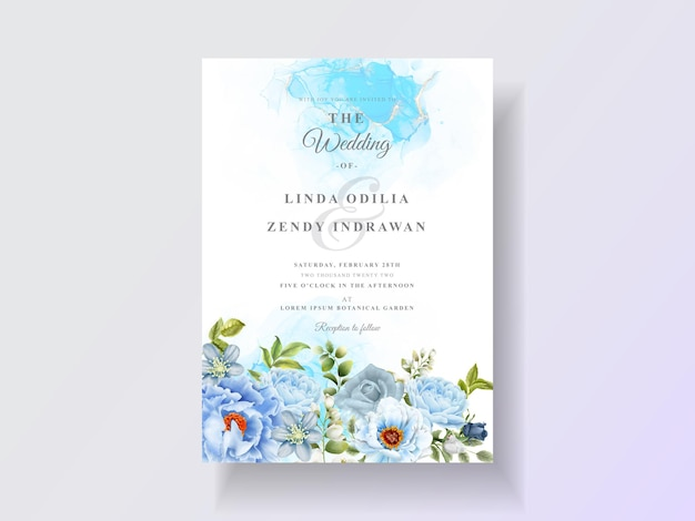 Elegante blauwe rozen bruiloft uitnodiging sjabloon