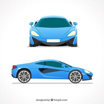 Elegante blauwe sportwagen