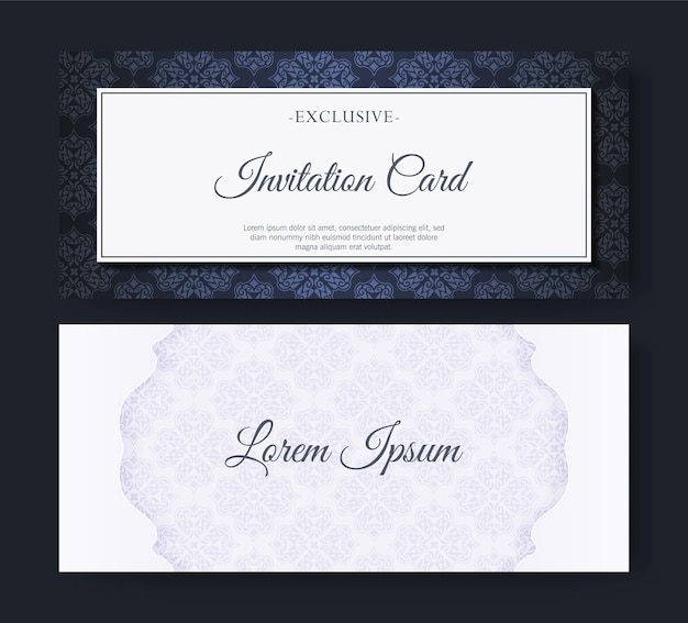 Elegante blauwe uitnodiging in patroonstijl