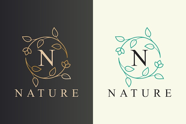 Elegante bloem en blad lijn kunststijl natuur logo-ontwerp met beginletter