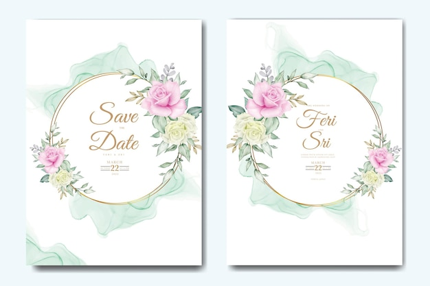 Elegante bloem en bladeren aquarel bruiloft uitnodigingskaart