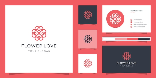 Elegante bloem liefde logo ontwerp lijntekeningen.