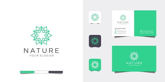 Elegante bloem logo ontwerp lijntekeningen en visitekaartje