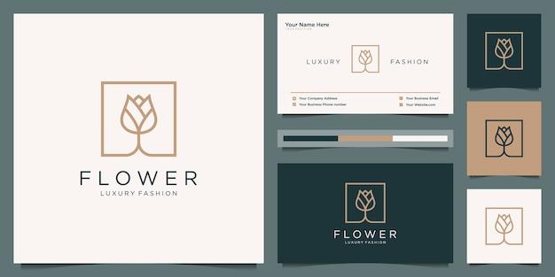 Elegante bloem roos schoonheid, yoga en spa. logo-ontwerp en visitekaartje