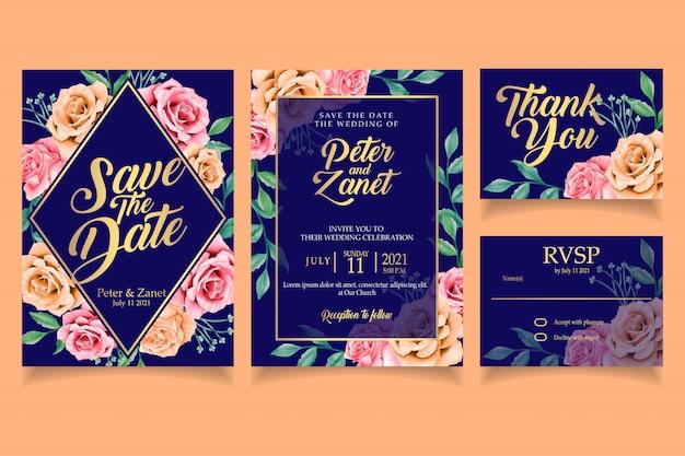 Elegante bloemen aquarel uitnodiging bruiloft kaart sjabloon achtergrond