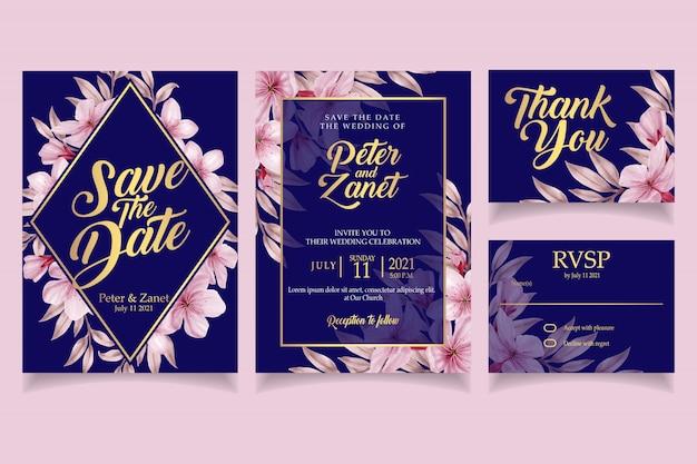 Elegante bloemen aquarel uitnodiging bruiloft kaart sjabloon vintage