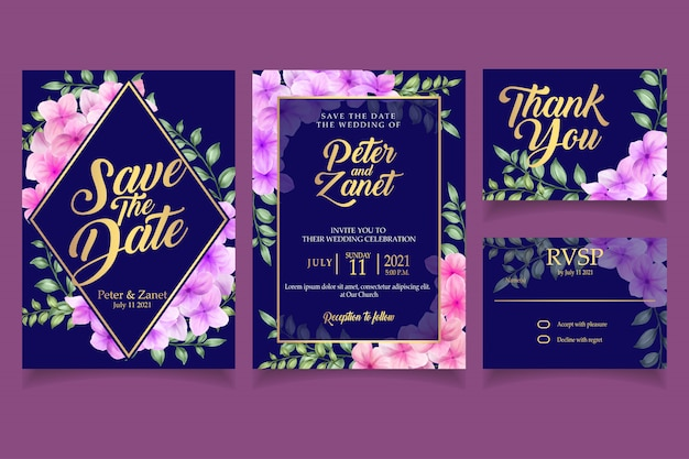Elegante bloemen aquarel uitnodiging kaart sjabloon bloesem