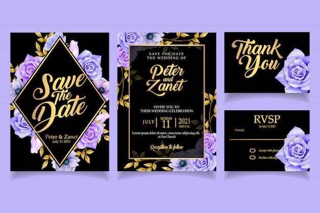 Elegante bloemen aquarel uitnodiging kaart sjabloon luxe
