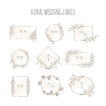 Elegante bloemen bruiloft etiketten