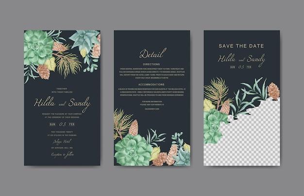 Elegante bloemen bruiloft instagram verhalen sjabloon