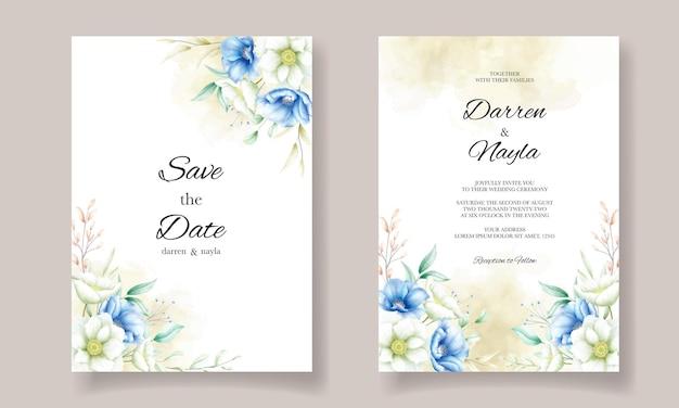 Elegante bloemen bruiloft kaart sjabloonontwerp