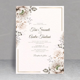 Elegante bloemen bruiloft kaart thema