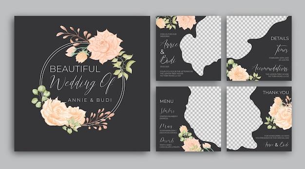 Elegante bloemen bruiloft sociale media post sjabloon