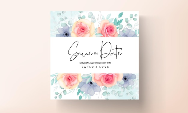 Elegante bloemen bruiloft uitnodiging kaartenset
