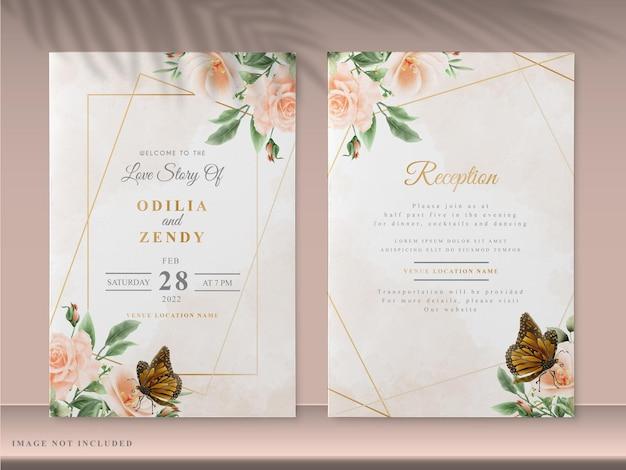 Elegante bloemen bruiloft uitnodiging kaartsjablonen