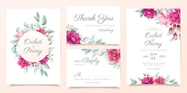 Elegante bloemen bruiloft uitnodiging kaartsjabloon ingesteld met rode rozen bloemen en bladeren