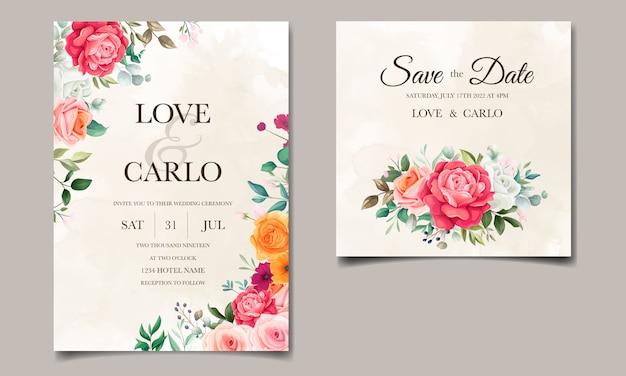 Elegante bloemen bruiloft uitnodiging kaartsjabloon