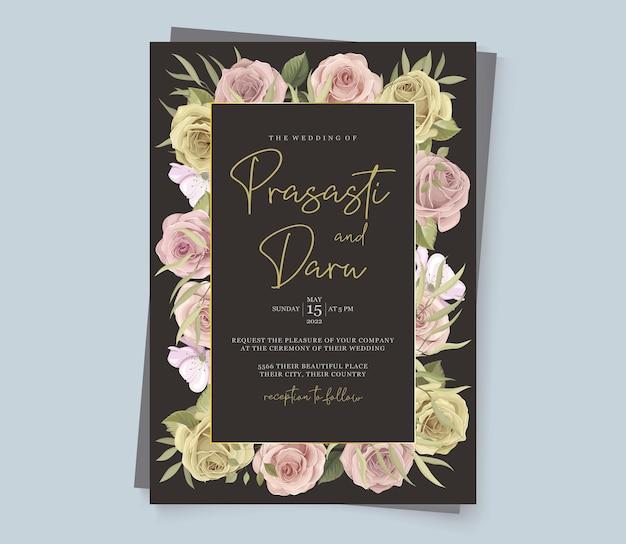 Elegante bloemen bruiloft uitnodiging ontwerpset