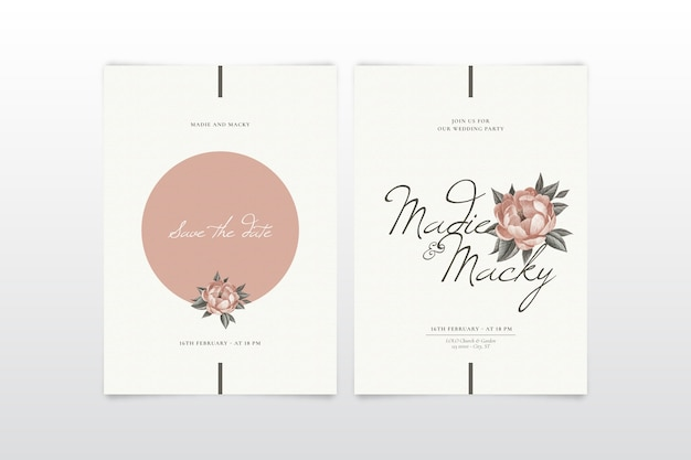 Elegante bloemen bruiloft uitnodiging sjabloon