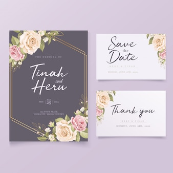 Elegante bloemen bruiloft uitnodigingskaart