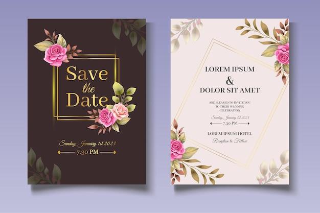 Elegante bloemen bruiloft uitnodigingskaarten set