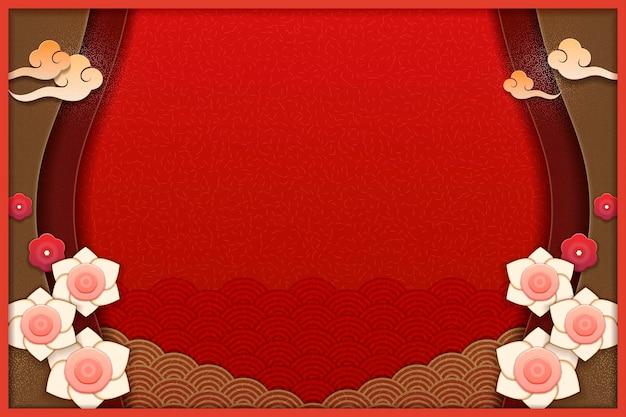 Elegante bloemen- en golfpatroonachtergrond in rood en aardetinten, papierkunst
