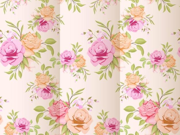 Elegante bloemen naadloze patroon ontwerpsjabloon