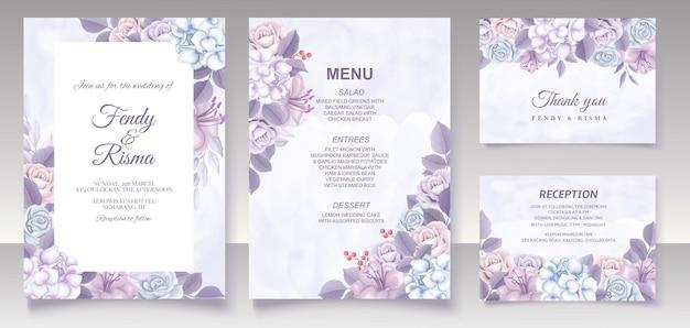 Elegante bloemen sjabloon bruiloft kaart