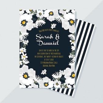 Elegante bloemen trouwkaart