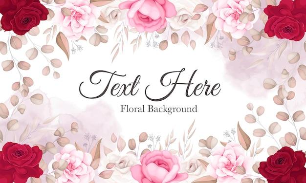 Elegante bloemenachtergrond met mooie bloemornamenten Premium Vector