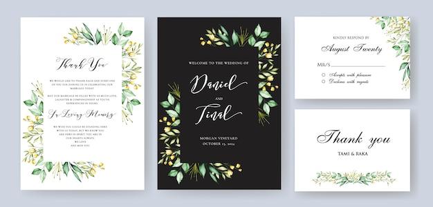 Elegante bloemenhuwelijk en uitnodigingskaartsjabloon