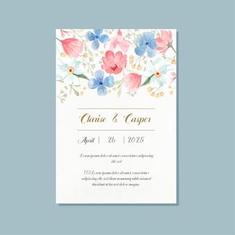 Elegante bloemenhuwelijksuitnodiging in aquarel